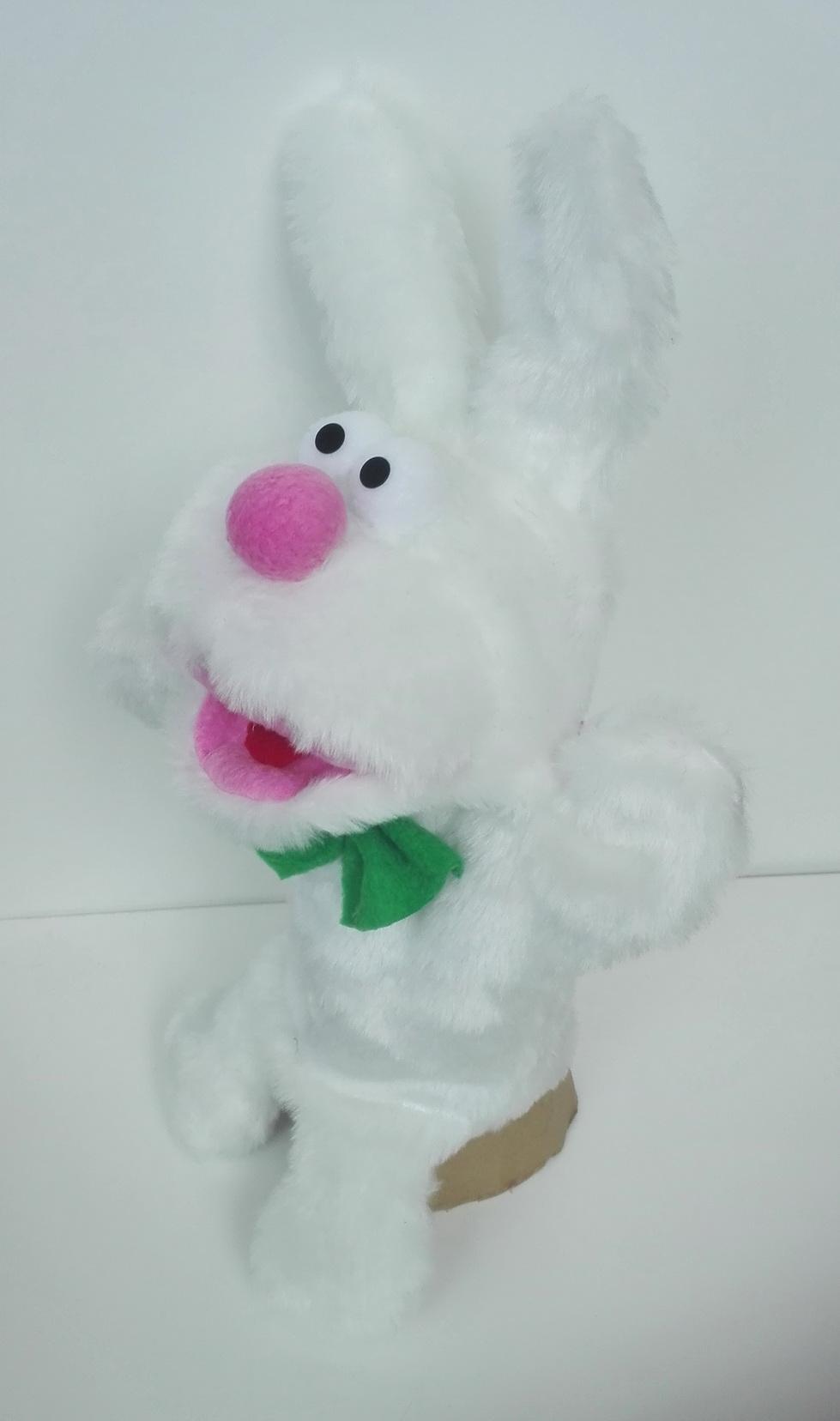 Кукла с открывающимся ртом зайчик
