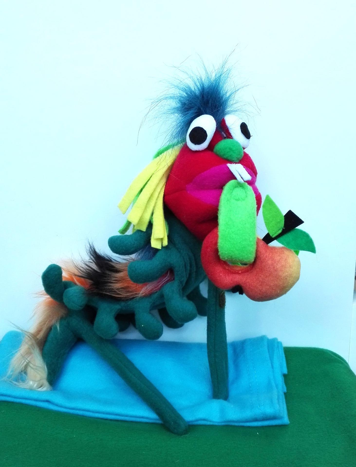 Штоковая кукла на палочках, гусеница, голодная гусеница игрушка