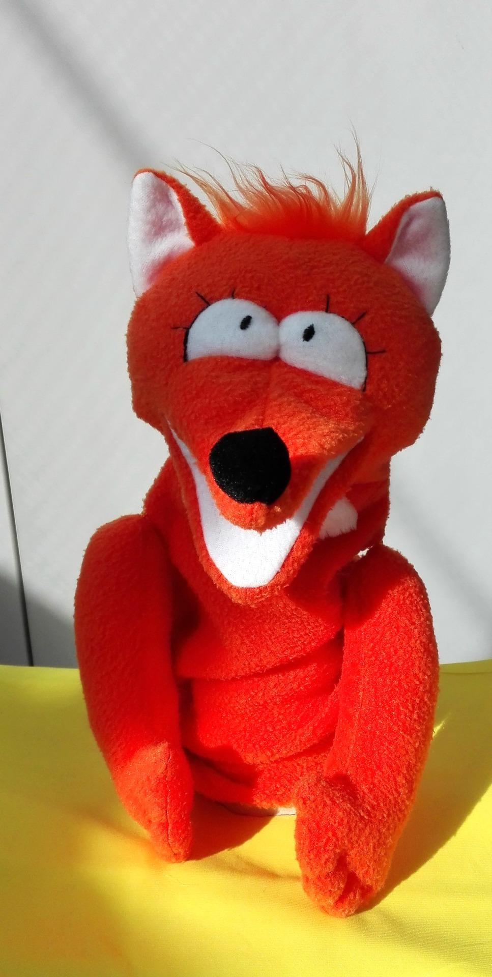Лиса кукла с открывающимся ртом для кукольного театра