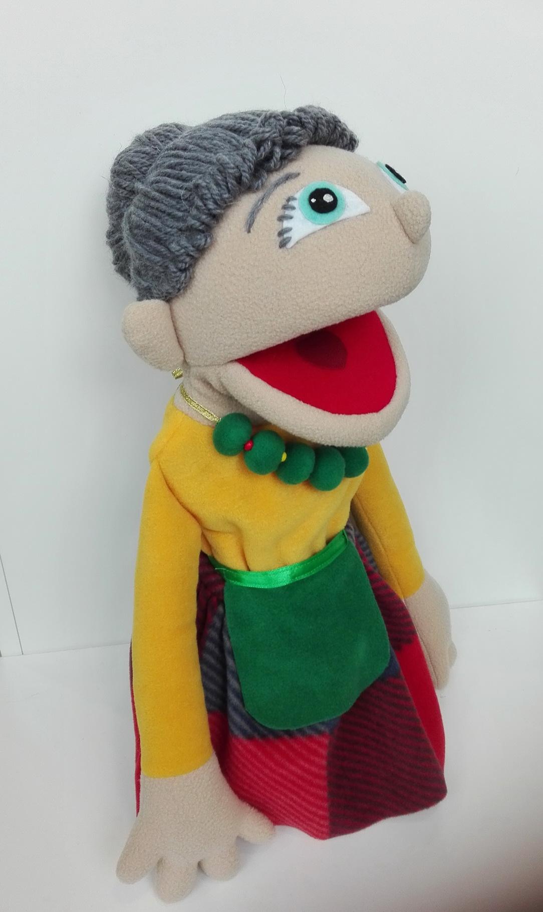 Кукла бабушка с открывающимся ртом для кукольного театра
